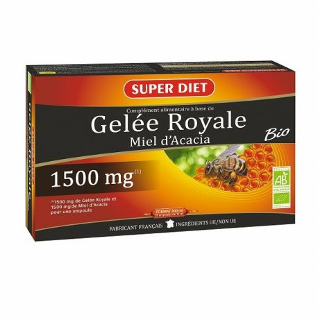 SUPER DIET - GELEE ROYALE MIEL D'ACACIA 1500 mg - 20 amp